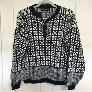 Vintage Black and White Pattern Button Up Sweater
